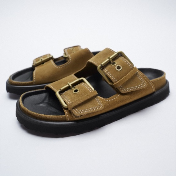 Zara Brown Leather Buckled Flat Sandals, size 9